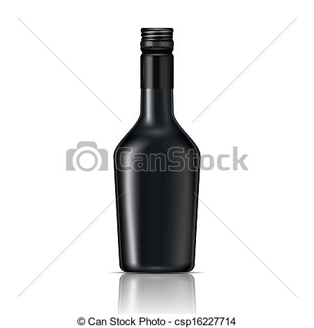 Vector Clip Art of Black glass liqueur bottle with screw cap.