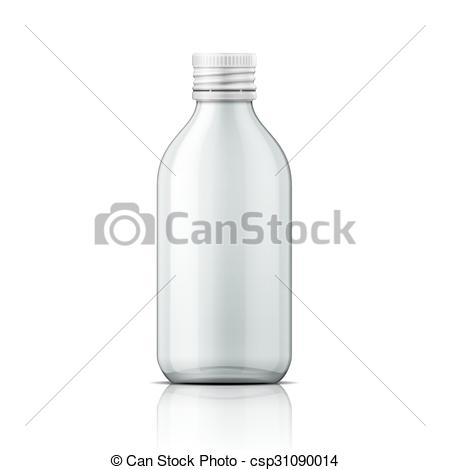 Vector Clip Art of Glass medical bottle with screw cap..