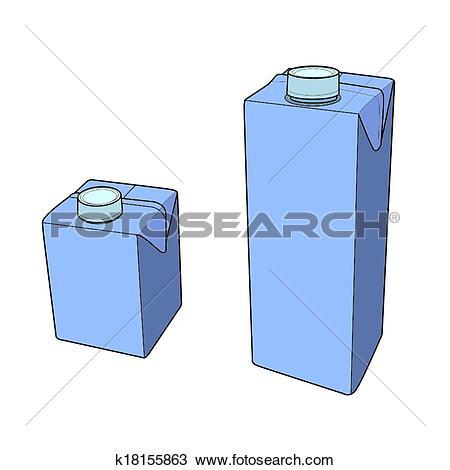 Clipart of Milk carton with screw cap vector k18155863.