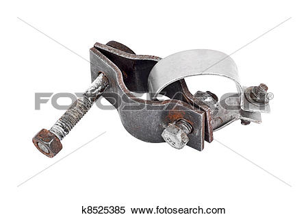Stock Illustration of Clamp collar for pipe with screw, isolated.