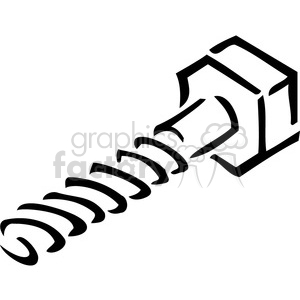 black and white screw outline clipart. Royalty.