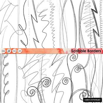 Scribble Border ClipArt, Digital Graphics, Swirl Page divider Borders.