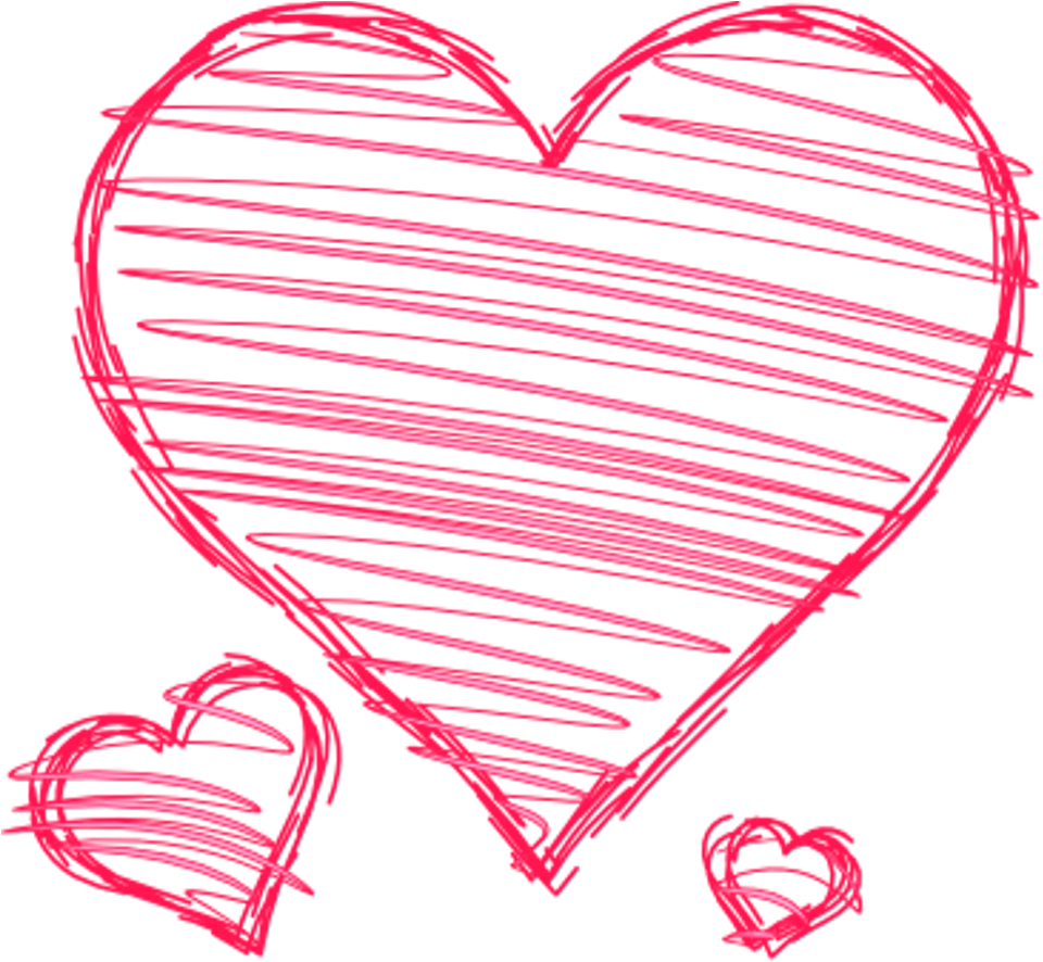 Doodle Hearts Pink Red Handdrawn Pen Drawn Scribble.