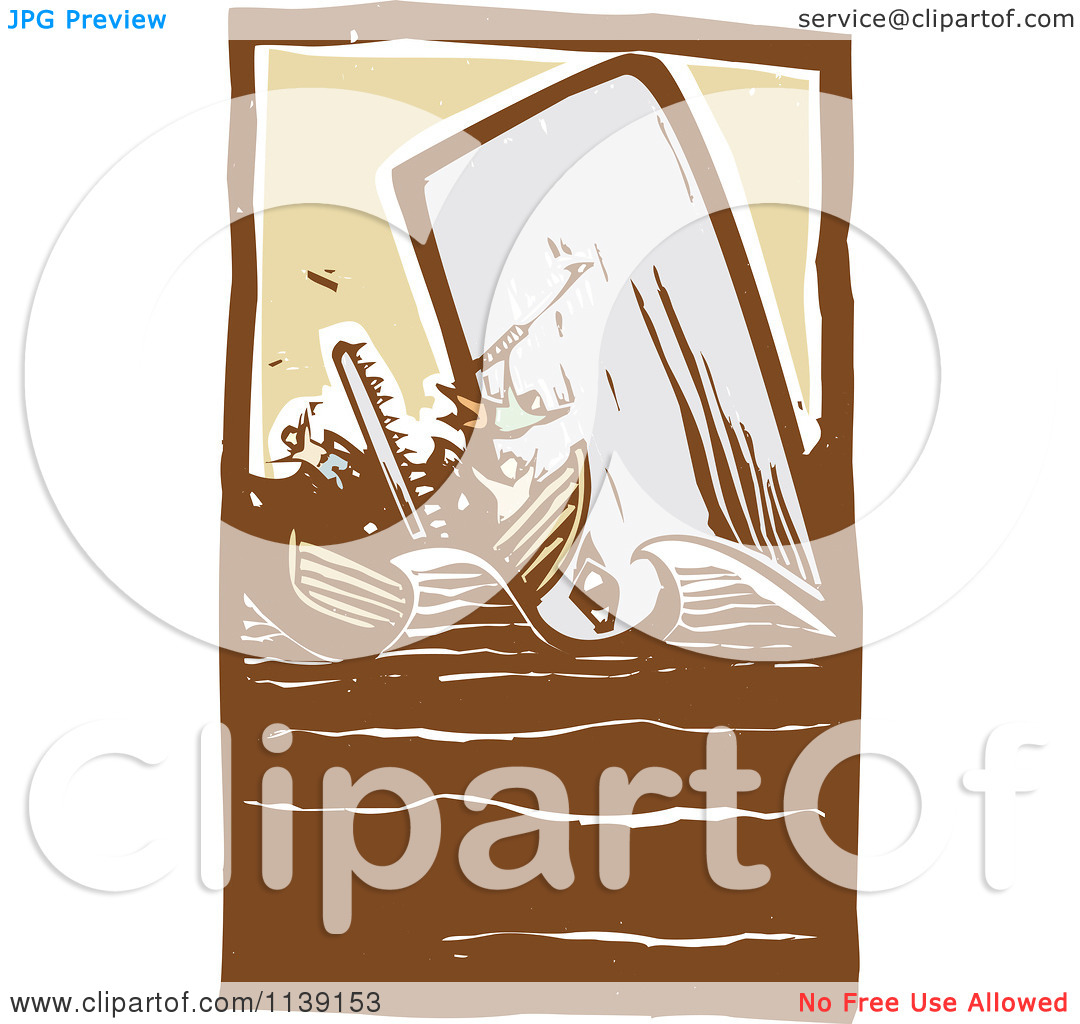Clipart Of A Scrimshaw Whale Attacking Boat Woodcut