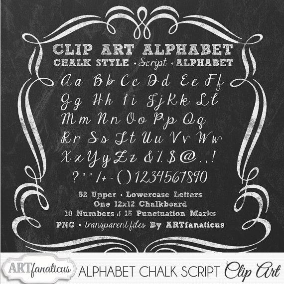 Chalkboard Clip Art ALPHABET CHALK SCRIPT 1.