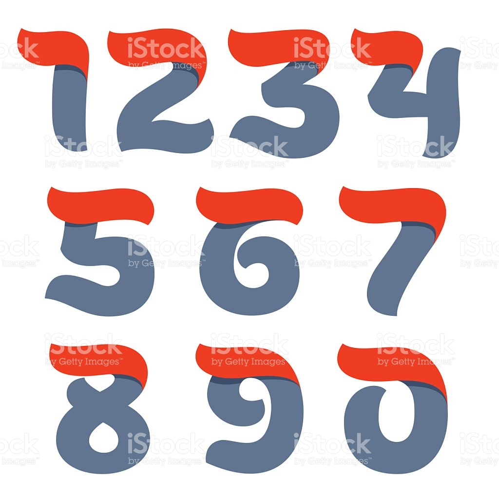 Fast Speed Vector Script Numbers Set With Red Flag Line stock.
