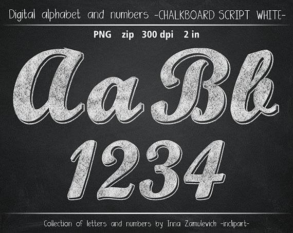 Script Numbers Clipart.