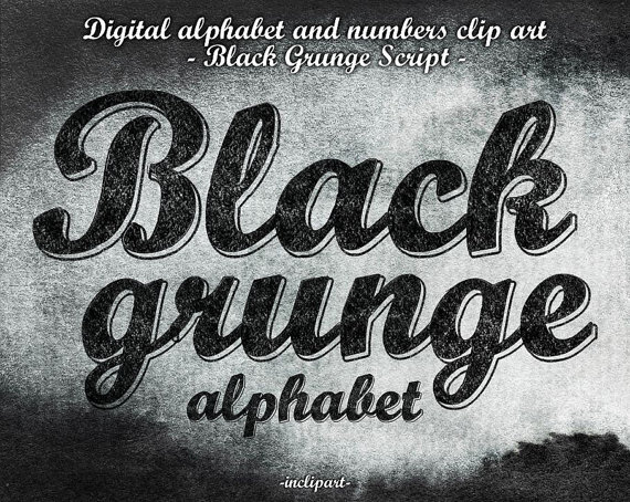 Alphabet Black Grunge script clipart. Digital coal black.