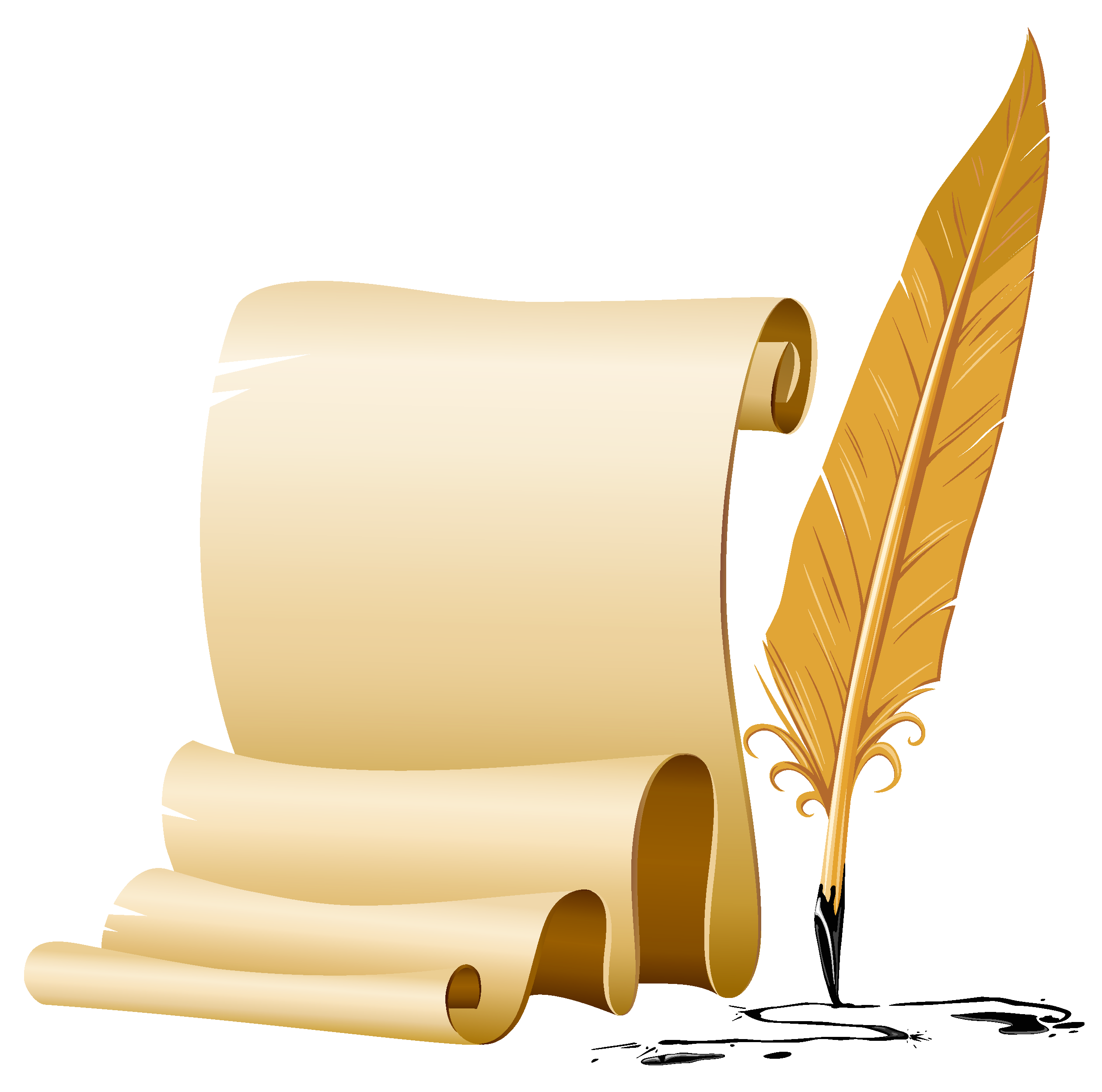 Scrolled and Quill Pen PNG Image.