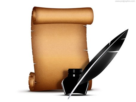 Free Paper scroll with quill pen (PSD)s Clipart and Vector.