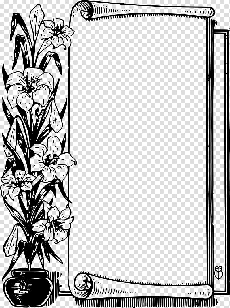 Flower Scroll , black border transparent background PNG.