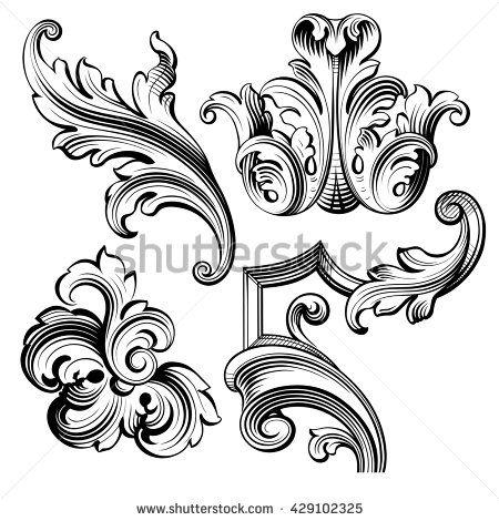 Vintage Baroque Victorian frame border monogram floral.
