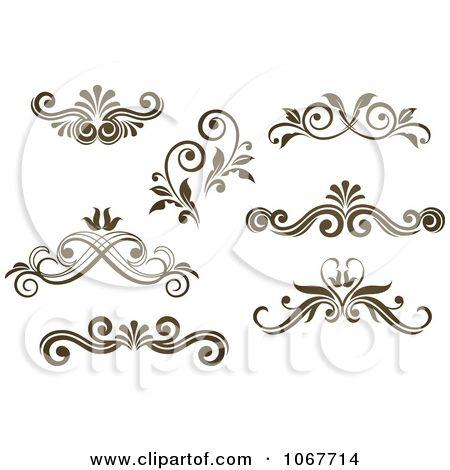 Clipart Brown Ornate Scroll Designs 2.