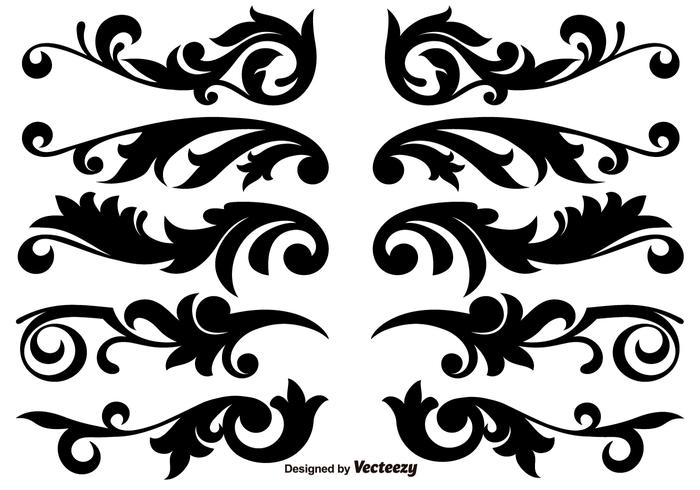 Scroll Works Design, Ornamental Decorative Vector Elements.