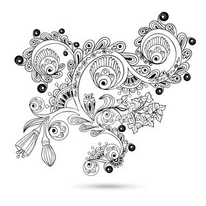 Flower pattern engraving scroll motif for card Clipart Image.