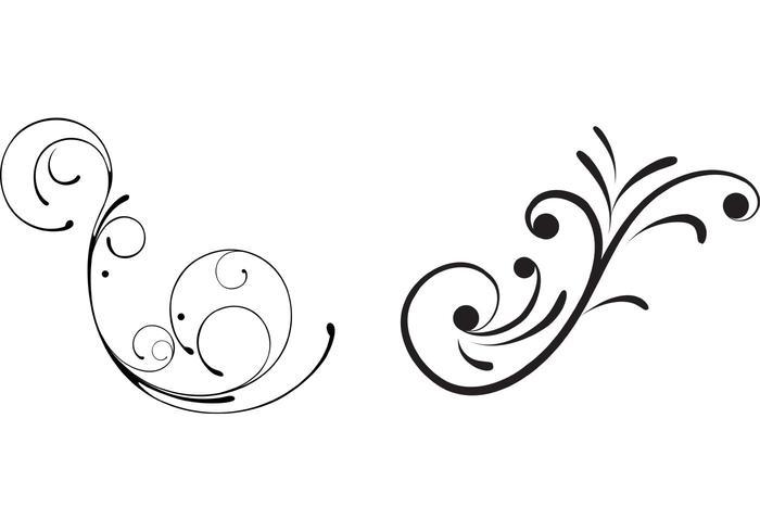 Free Swirly Floral Scrolls Vectors.