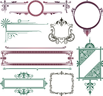 Decorative scroll work border free vector download (33,739.