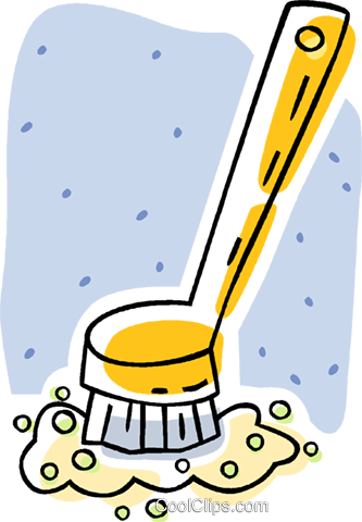 scrub brush, kitchen Royalty Free Vector Clip Art.