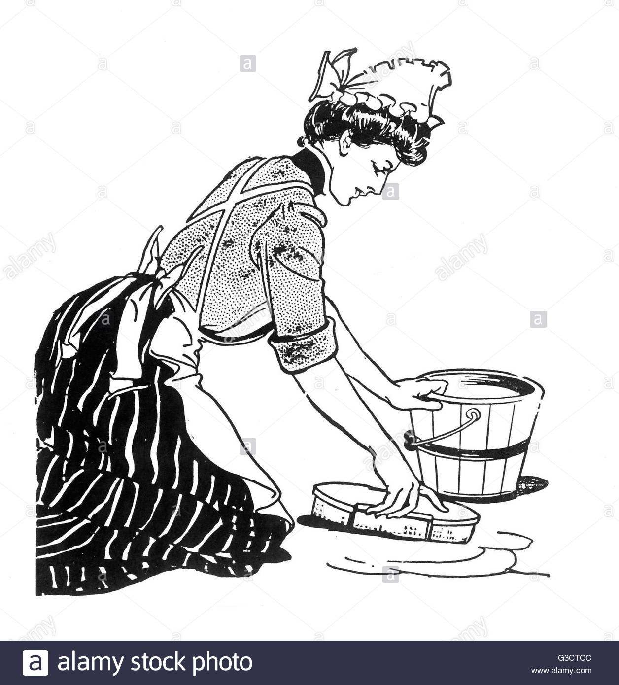 A Maid Kneels Down To Scrub The Floor. Date: 1901 Stock Photo.
