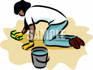 Free Clipart Image: A Woman on Her Hands and Knees Scrubbing the Floor.