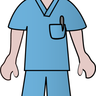 Free Clip Art Of Doctors and Nurses: Nurse in Blue Scrubs.