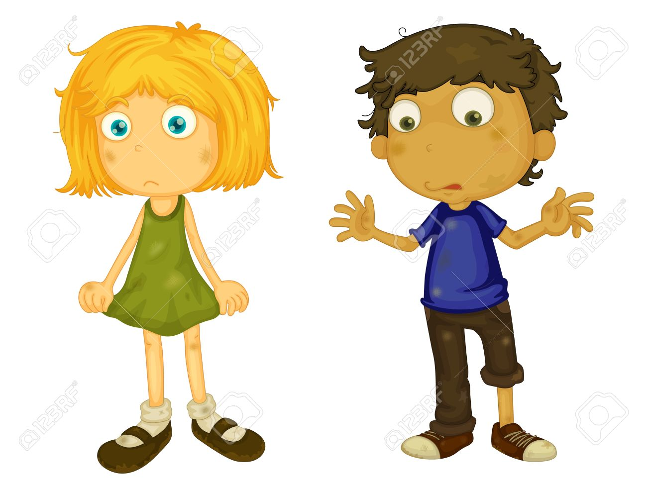 Illustration Of Dirty Boy And Girl Royalty Free Cliparts, Vectors.