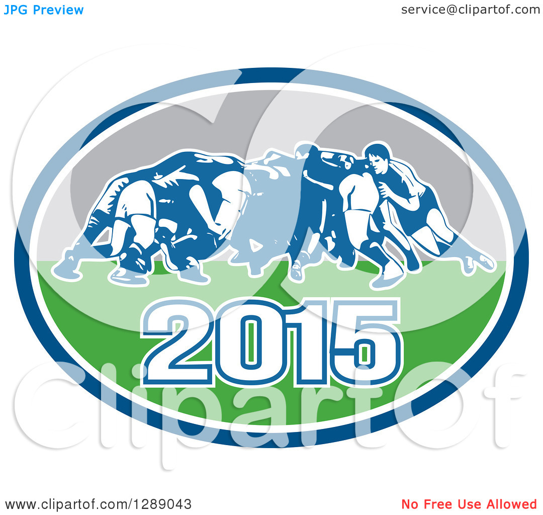 Clipart of Retro Rugby Union Players in a Scrum in a Blue White.