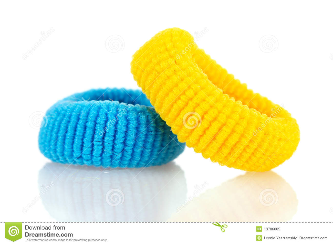 Blue Scrunchies For Hair Isolated Stock Photo.