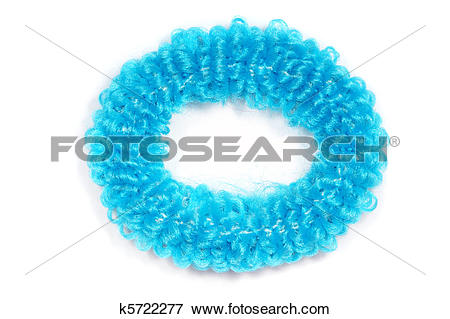 Picture of blue scrunchies for hair isolated on white background.
