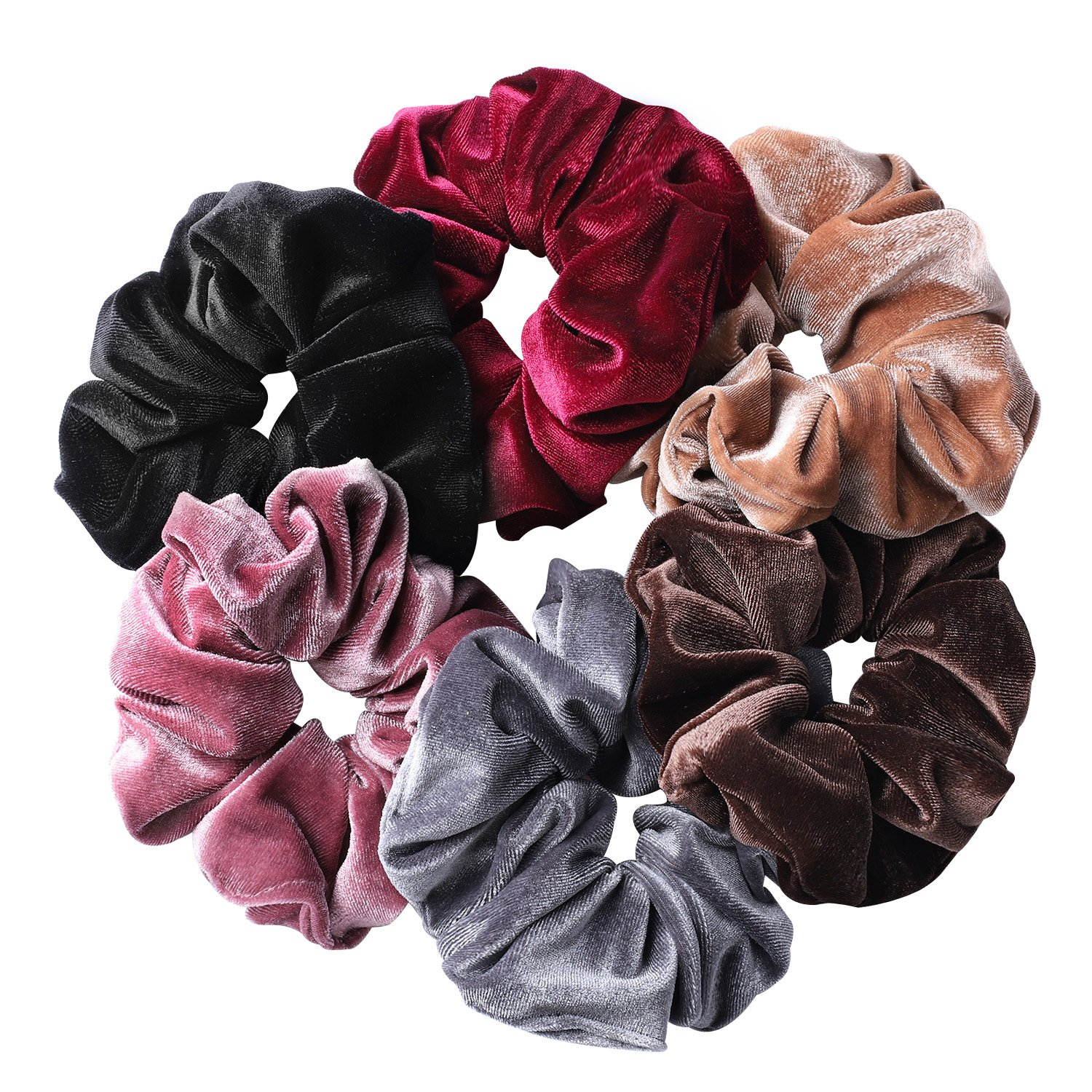 Whaline 6 Big Hair Scrunchies Velvet Elastics Large Hair Bobble Scrunchy  Hair Bands Women Soft Hair.