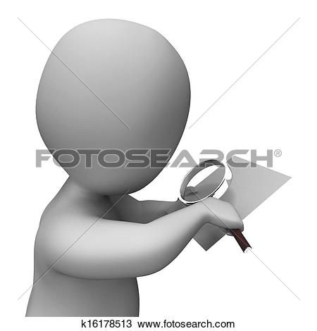 Stock Photo of Looking Magnifier Document Character Showing.