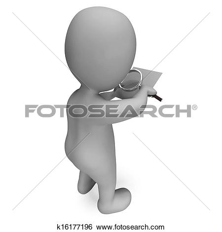 Stock Images of Looking Magnifier Document Character Showing.