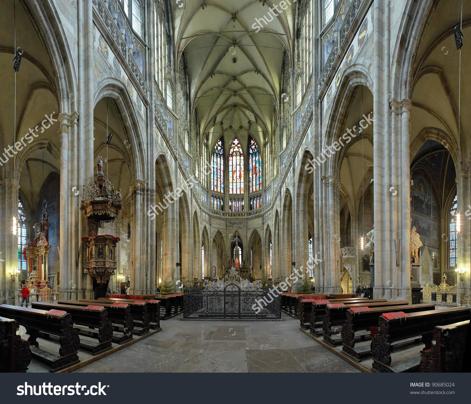 Interior St Vitus Cathedral Prague Czech Stock Photo 90685024.