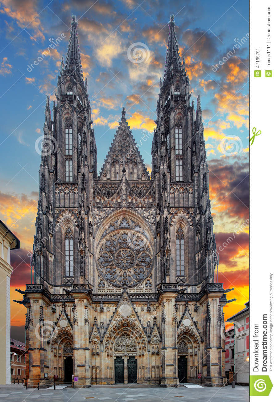 St. Vitus Cathedral In Prague Castle In Prague Stock Photo.