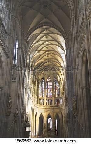 Stock Photo of Interior of St. Vitus Cathedral, Prague, Czech.