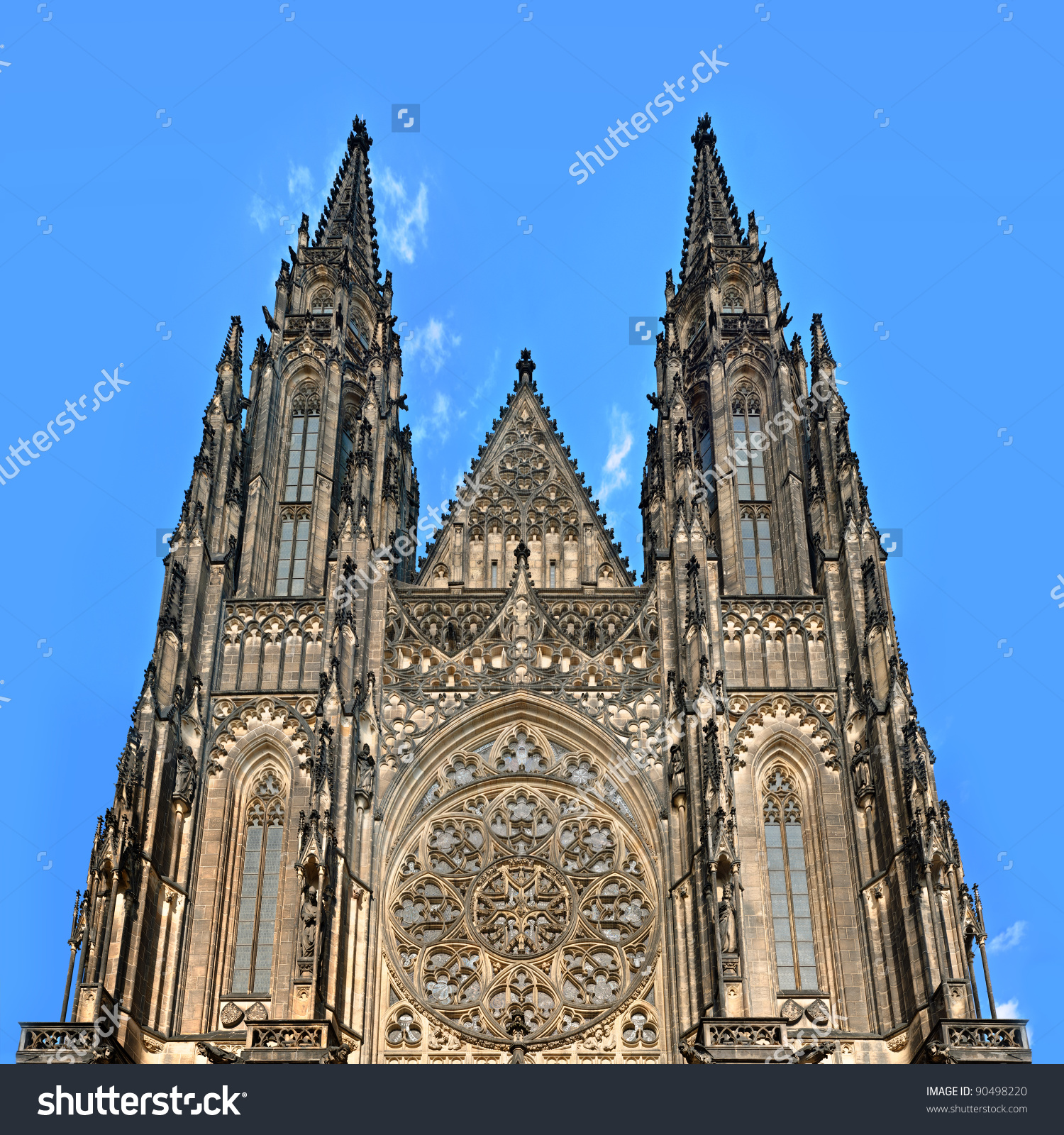 Perspective View St Vitus Cathedral Facade Stock Photo 90498220.