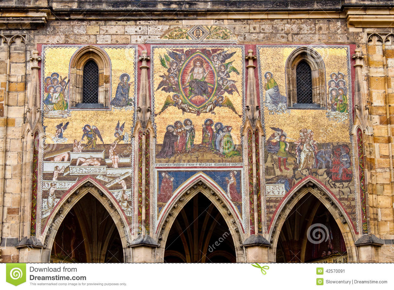 Mosaic Of St. Vitus Cathedral. Stock Image.