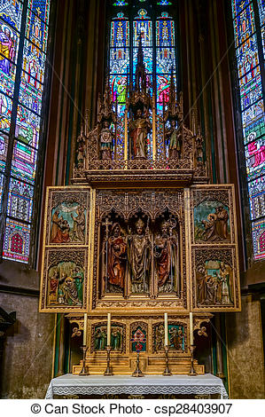 Stock Photography of Altar in St Vitus Cathedral in Prague.