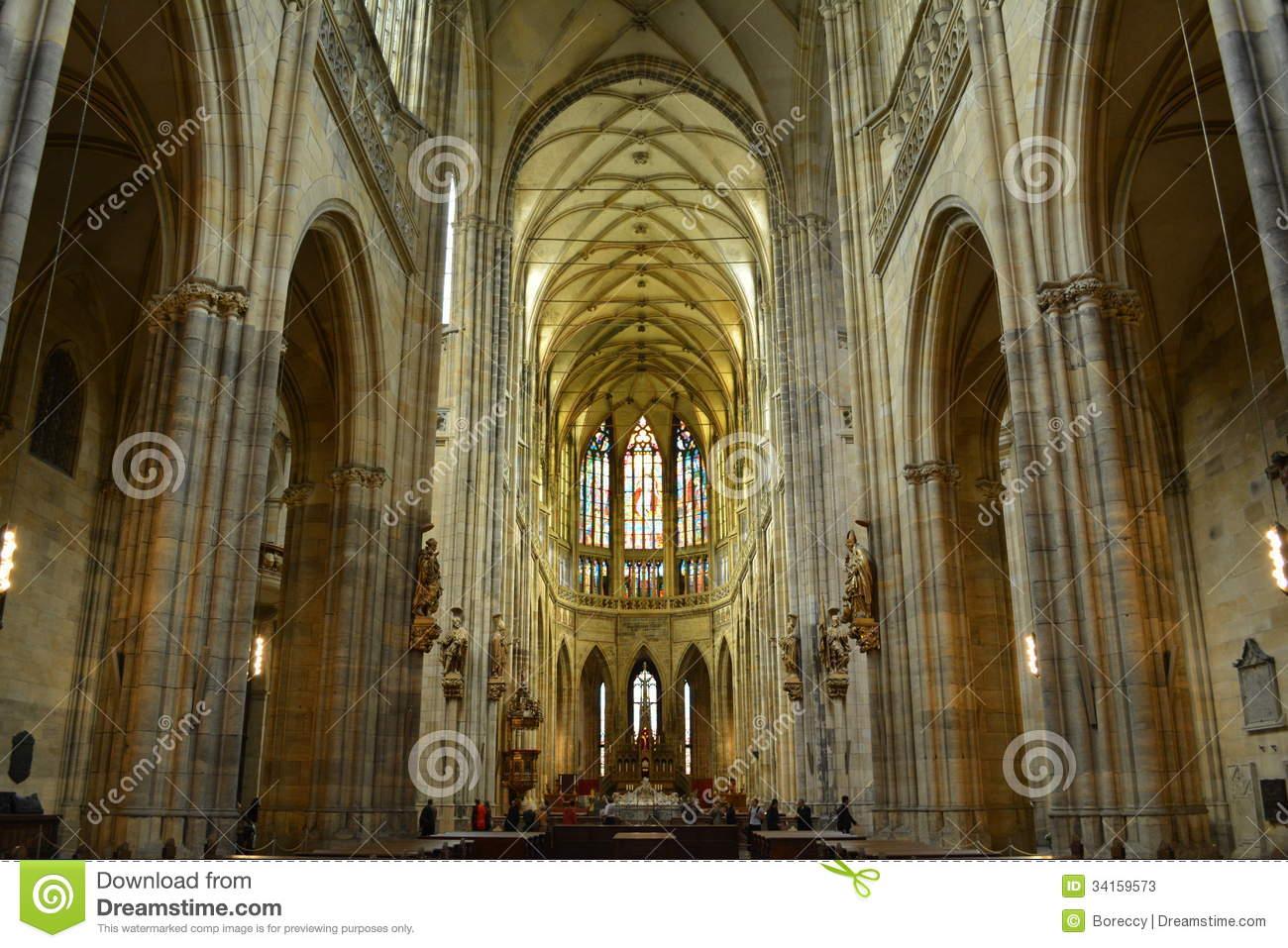 Interior Of Saint Vitus Cathedral In Prague Stock Photos.