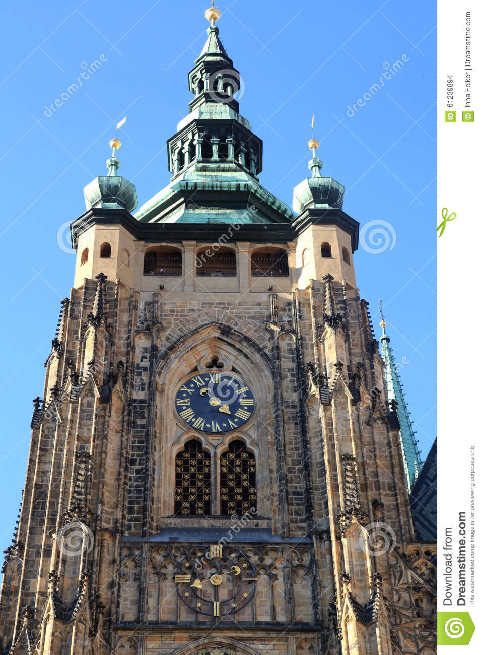 Clock Tower Of St. Vitus Cathedral In Prague Castle Stock Photo.