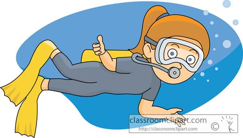 Girls Scuba Diving Cartoon Clipart.