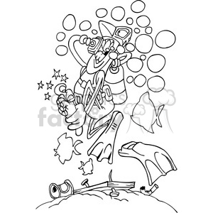 black white cartoon scuba diver stepping on a nail clipart. Royalty.