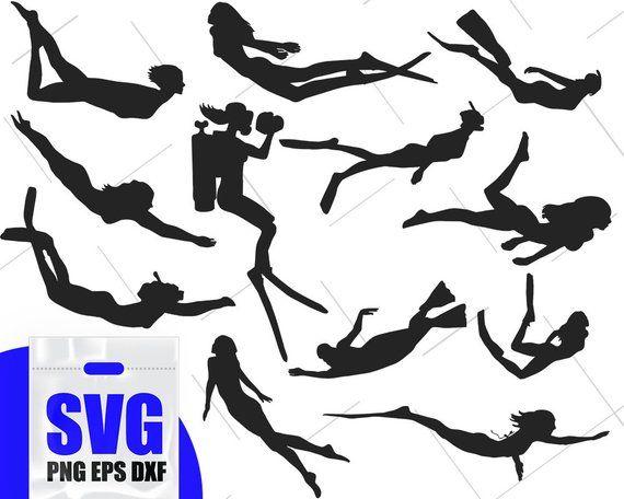 Diving Silhouette, Scuba Dive Clip Art, Scuba Diver svg.