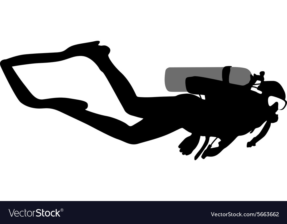 Black silhouette scuba divers.