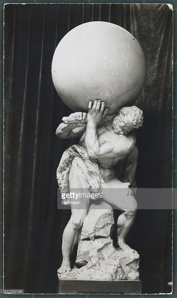Sculpture of a Weighted Down Atlas Pictures.