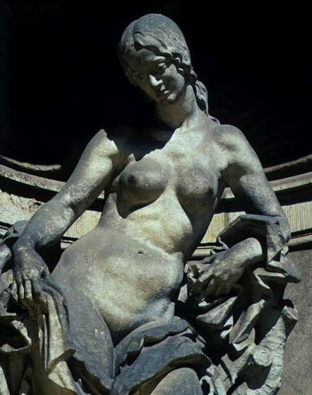 Detail from a sculpture of a nymph.