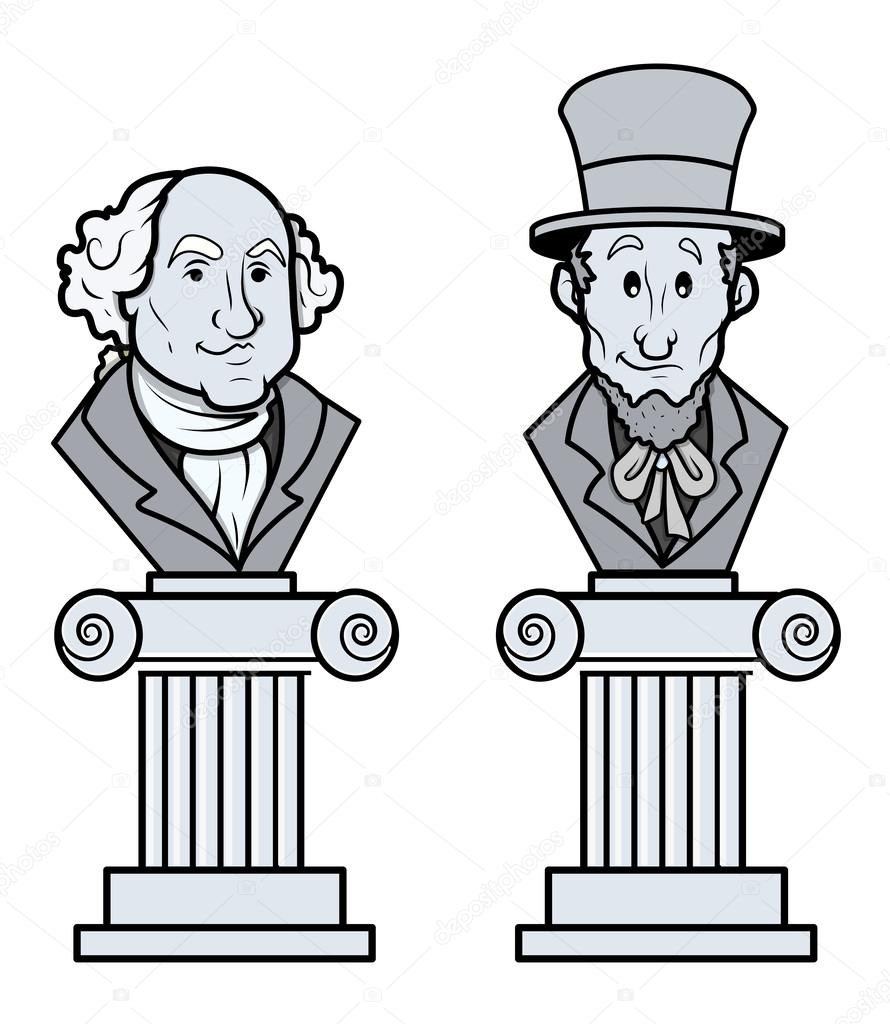 Sculpture of Abraham Lincoln and George Washington Vector Clip.