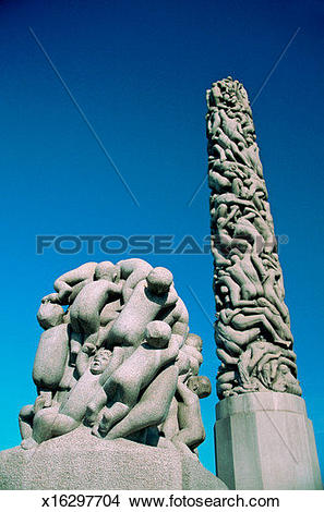 Stock Photo of Low angle view of two sculptures, Gustav Vigeland.