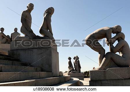 Pictures of Granite sculptures in Gustav Vigeland Sculpture Park.