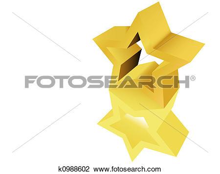 Clip Art of Gold Star Award Sculpture Statue k0988602.
